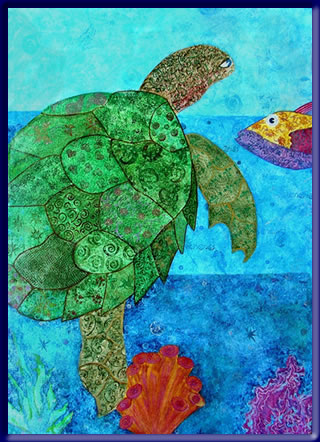 "Floorcloth painting of sea turtle called ""Ole Blue Eyes"""